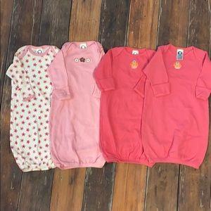 4 pc Baby Girl Sleep Gowns & 2 Hats Sz 0-6mo
